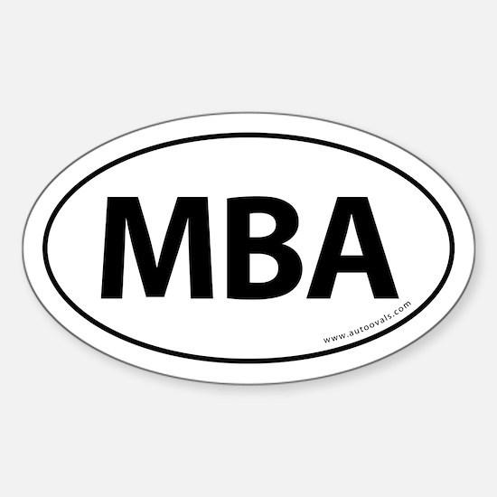 MBA Euro Style Auto Oval Sticker -White