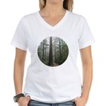 Redwood Forest Fog Women's V-Neck T-Shirt