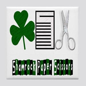 Shamrock Paper Scissors Tile Coaster