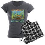 Tie Dye Turtle Watercolor Women's Charcoal Pajamas