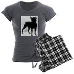 Boston Terrier Silhouette Women's Charcoal Pajamas