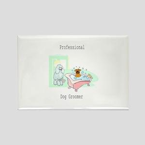 Professional Dog Groomer Logo Rectangle Magnet