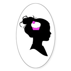 Cupcake Brain Sticker (Oval 50 pk)