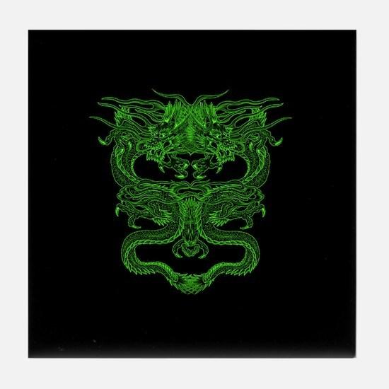 Green Dragons Tile Coaster