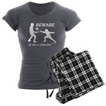 Beware of Short Fencers Women's Charcoal Pajamas