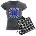 Blue Quilt Watercolor Women's Charcoal Pajamas