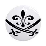 Fleur De Lis Pirate Ornament (Round)