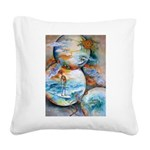 Cosmic Surfer Square Canvas Pillow
