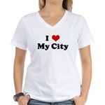 I Love My City Women's V-Neck T-Shirt