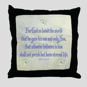 John 3:16 Dogwood Throw Pillow