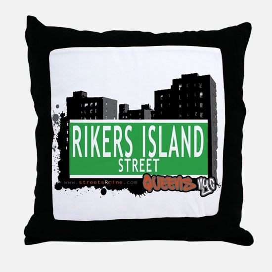 RIKERS ISLAND STREET, QUEENS, NYC Throw Pillow