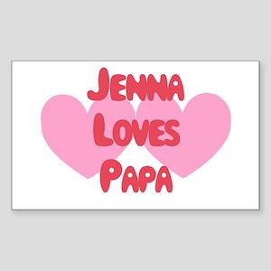 Papa Loves Jenna Rectangle Sticker