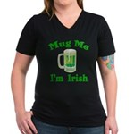 Mug Me I'm Irish Women's V-Neck Dark T-Shirt