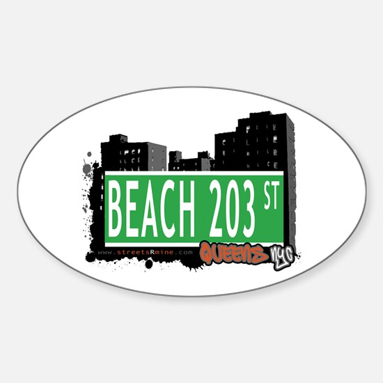 BEACH 203 STREET, QUEENS, NYC Oval Decal