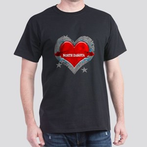 My Heart North Dakota Vector Dark T-Shirt