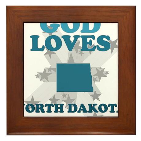 God Loves North Dakota Framed Tile