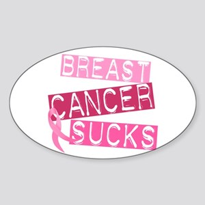 Breast Cancer Sucks Oval Sticker