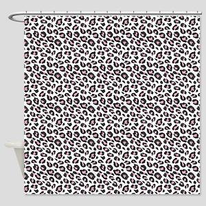Black Pink White Leopard Pattern Shower Curtain