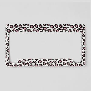 Black Pink White Leopard Patt License Plate Holder
