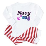 Navy Baby pink anchor Baby Pajamas