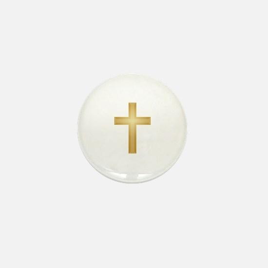 Gold Cross Mini Button
