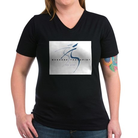 Massage Therapist Women's V-Neck Dark T-Shirt