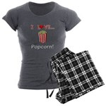 I Love Popcorn Women's Charcoal Pajamas