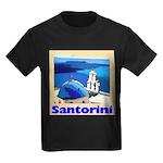 Santorini Greece Kids Dark T-Shirt