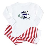 Three Tuna Chase Sardines fish Baby Pajamas