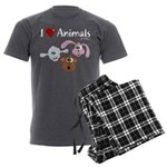 I Love Animals - Men's Charcoal Pajamas