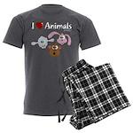I Love Animals - Men's Charcoal Pajamas