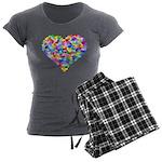 Rainbow Heart of Hearts Women's Charcoal Pajamas