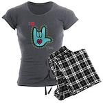 Aqua Bold I-Love-You Women's Charcoal Pajamas