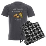 Christmas Pizza Men's Charcoal Pajamas