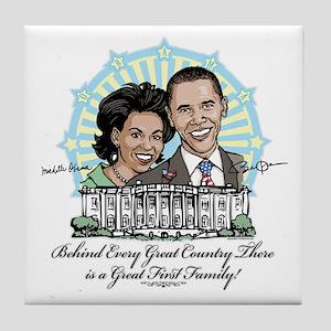 Obama First Family Tile Coaster