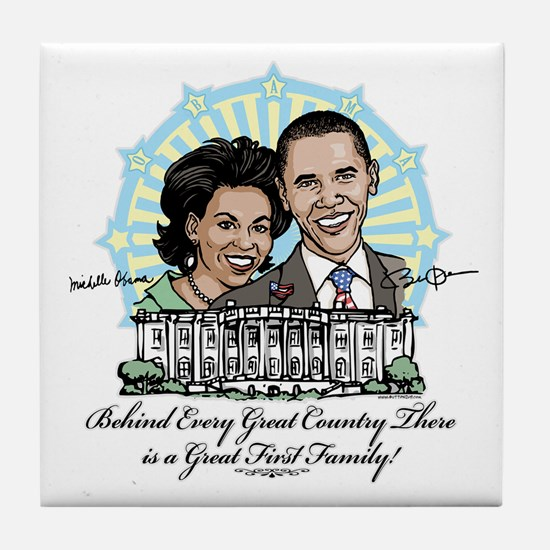 Obama First Family Tile Coaster