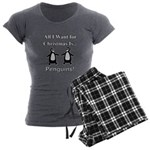 Christmas Penguins Women's Charcoal Pajamas
