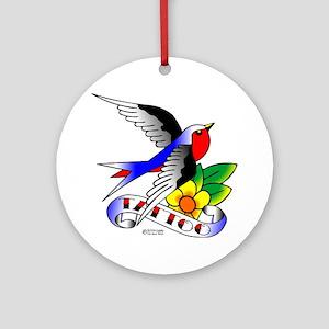 Old Skool Tattoo Swallow Ornament (Round)
