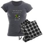 Christmas Wine Women's Charcoal Pajamas