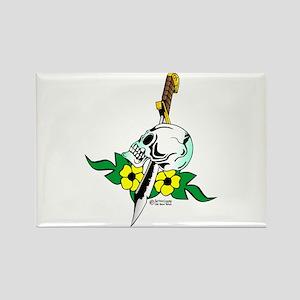 Old Skool Skull & Dagger Rectangle Magnet
