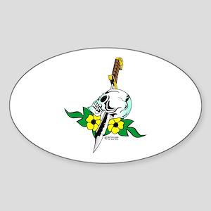 Old Skool Skull & Dagger Oval Sticker