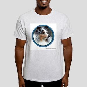Blue Merle Sheltie Art Ash Grey T-Shirt