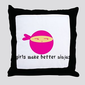 Girls Make Better Ninjas Throw Pillow