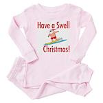 Santa Surfing Baby Pajamas