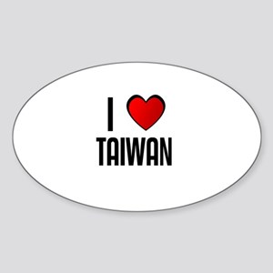 I LOVE TAIWAN Oval Sticker