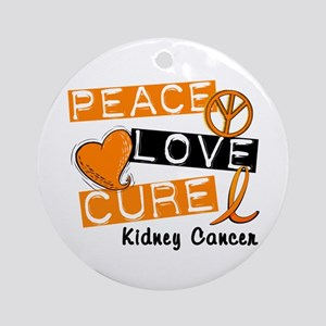 PEACE LOVE CURE Kidney Cancer (L1) Ornament (Round
