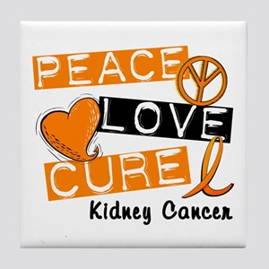 PEACE LOVE CURE Kidney Cancer (L1) Tile Coaster