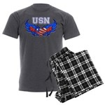 USN Heart Flag Men's Charcoal Pajamas