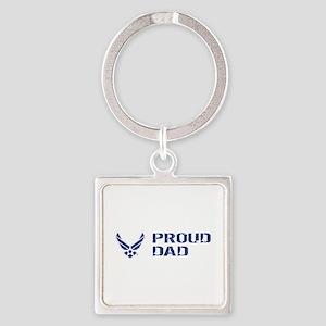 USAF: Proud Dad Square Keychain