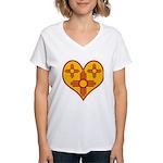 New Mexico Zia Heart Women's V-Neck T-Shirt